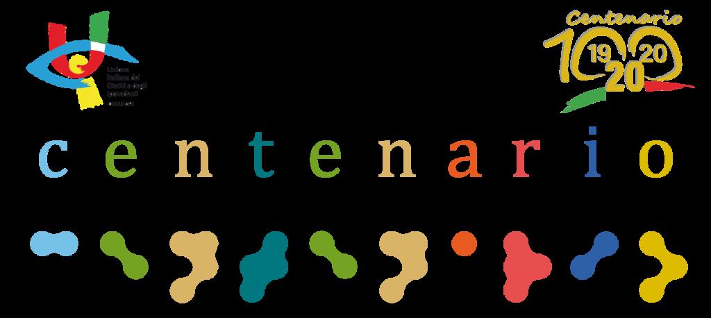 Centenario dell'Unione Italiana dei Ciechi e degli Ipovedenti, 1920 - 2020. Scritta centenario, a caratteri latini colorati e in braille
