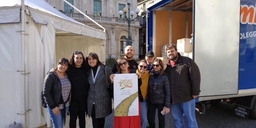 Foto di alcuni dirigenti e dei dipendenti addetti alla preparazione della tappa di Catania